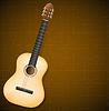 klassische Gitarre auf braunem Hintergrund