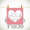 формы сердца рамка на веревке с местом для изображения