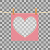 формы сердца рамка на веревке на прозрачном фоне