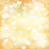 abstract golden background with transparent hearts