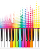 Vector clipart: rainbow keys of piano and sound waves lines