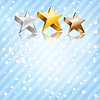 Golden, silver and bronze stars on blue background
