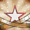 абстрактные старинные фон кино с красной звездой