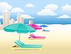 стулья с зонтиками на пляже с облаками и