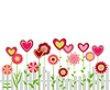 Vector clipart: flowers with heart shapes with fence. abstract retr