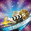 Vector clipart: cinema blue background with retro filmstrip, clappe