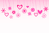 Vector clipart: hanging flowers and heart shapes background. retro