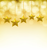 Vector clipart: golden stars on golden ropes on blurry background