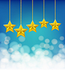 Vector clipart: golden stars on ropes on blue background