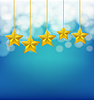 Vector clipart: golden stars on ropes on blue blurred background