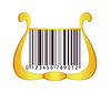 Vector clipart: harp with bar code as strings