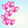 Vector clipart: pink heart balloons background