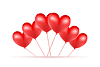 Vector clipart: red balloons made of hearts background