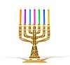 goldene Menora mit sieben Kerzen