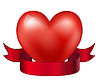 Vector clipart: heart and red ribbon