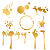 Vector clipart: set of golden blots and splashes