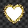 Vector clipart: white heart frame with glittering golden transparen
