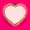 Vector clipart: pink heart frame with glittering golden