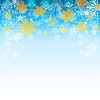 Vector clipart: winter light blue background with golden snowflakes