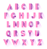 Vector clipart: alphabet pink paper set with shadows. uppercase