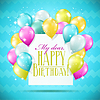 Vector clipart: happy birthday card with balloons and sparkles on