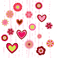 Vector clipart: flowers and heart shapes background. retro love