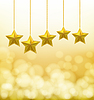 Vector clipart: golden stars hanging on ropes on blurry background