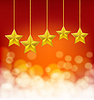 Vector clipart: golden stars on golden ropes on blurry red