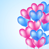 Vector clipart: pink and blue heart balloons background