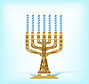 Vector clipart: realistic golden menorah with seven blue candles
