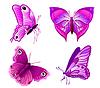 Vector clipart: set of purple butterflies