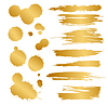 Vector clipart: set of gold blots and splashes
