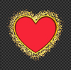 Vector clipart: red heart frame with glittering golden transparent