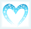 Vector clipart: heart shape with snowflakes. winter background