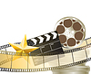 Vector clipart: cinema background with retro filmstrip, clapper