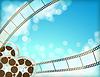 Векторный клипарт: кино синий фон с ретро киноленты фильма