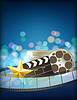 Cinema blue background with retro filmstrip, clappe | Stock Vector Graphics
