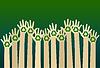 Raising carton hands with recycle symbol. eco   Stock Vector Graphics