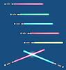 Lichtschwerter mit Farbvariationen auf blauem