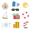 Vector clipart: set of travel icons . compass, airplane tickets