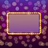 Vector clipart: Golden frame with light bulbs on blurry fairy tale