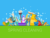 Spring cleaning composition background. Set of