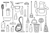 Vector clipart: Set of cleaning supplies. Tools of housecleaning.