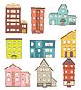 Satz von Cartoon-Häuser. Zeichnung von Retro und Moderne