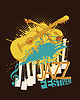 Jazz music festival poster with violin, piano keys