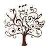 Дерево с фигурными ветками с музыкальными нотами и знаками | Векторный клипарт