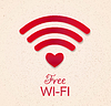 Vector clipart: wi-fi red icon with heart shape as point access.
