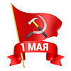 1st may day with red flag, hammer and sickle and