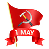 Vector clipart: 1st may day greeting with red flag, hammer and sick