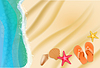 Vector clipart: beach background with sand, water waves, starfish,
